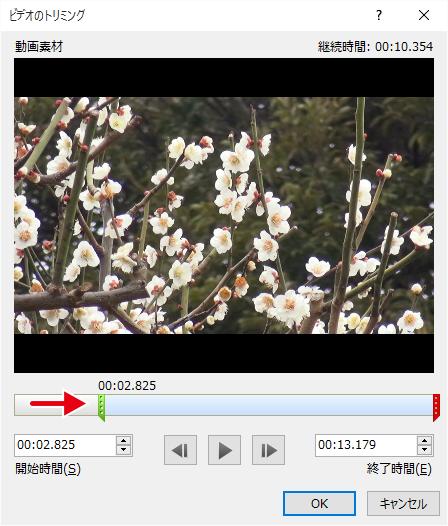 動画の開始時間を変更する