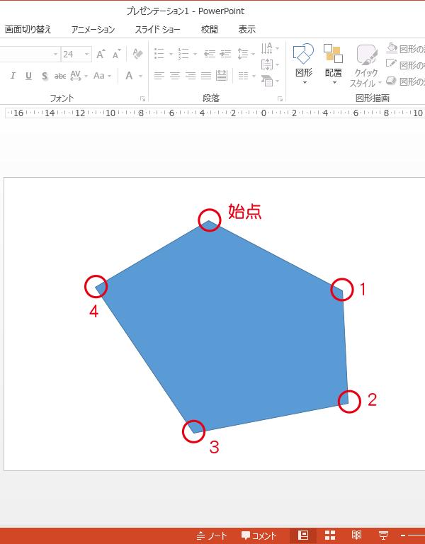 PowerPointのフリーフォームはクリックするごとに角を指定して図形を描ける