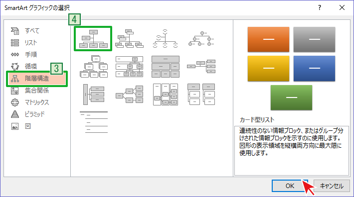 SamrtArtの階層構造から組織図を選択