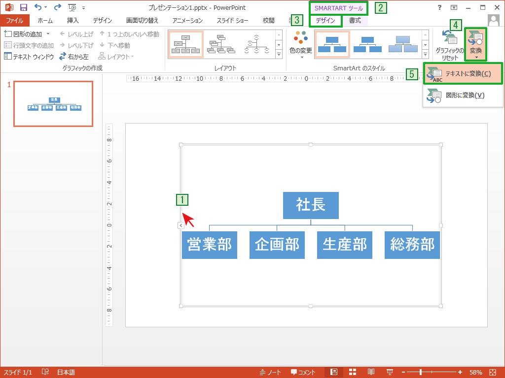 PowerPointのSmartArtからテキストに変換する