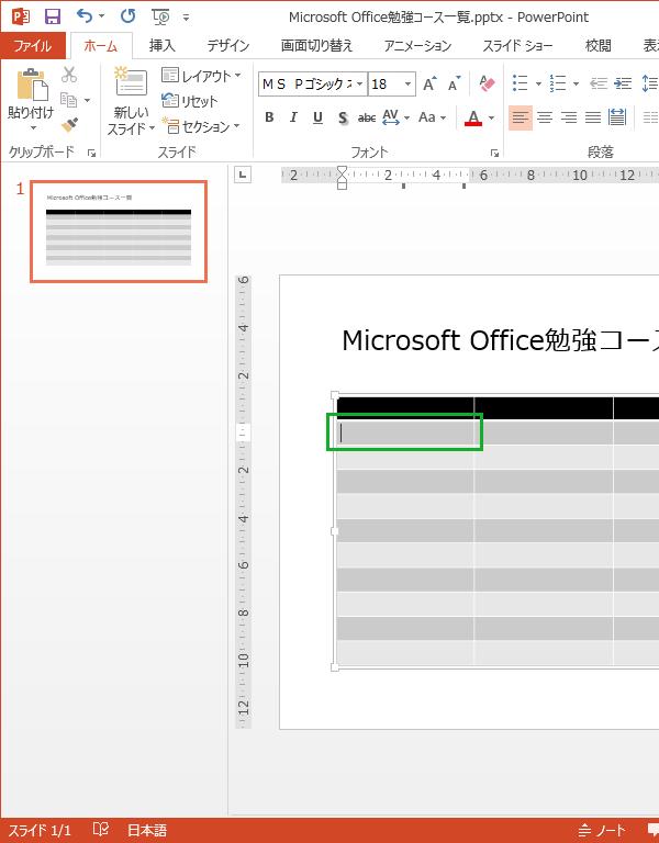PowerPointで作成した表に文字を入力する手順
