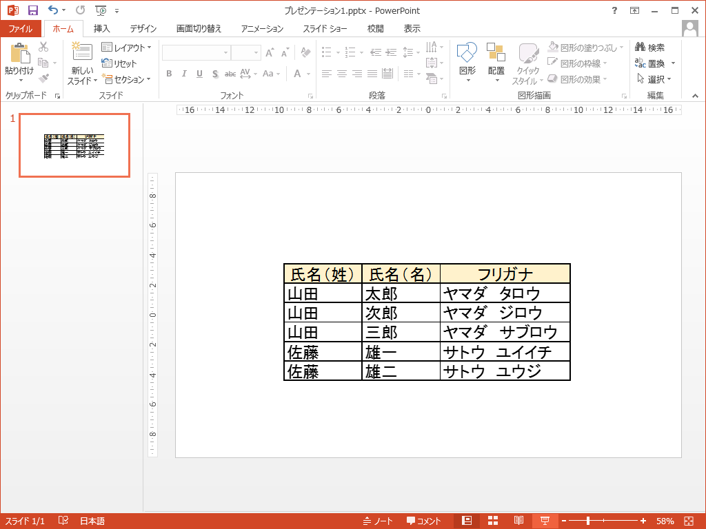 PowerPointに表がリンクされたまま貼り付け
