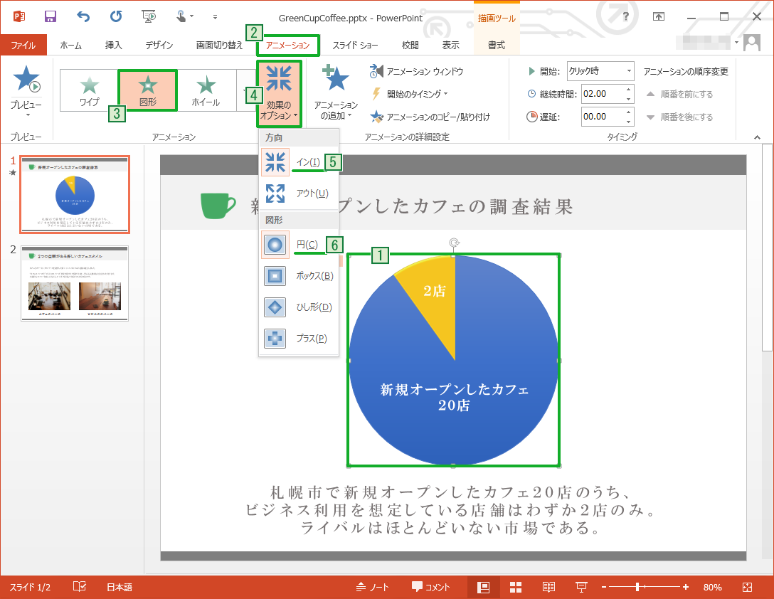 PowerPointのアニメーションで[図形]を選択すると効果オプションが変わる
